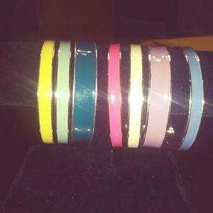 Gold Tone Enamel Bracelets